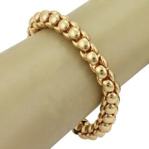 Bucherer Beaded Flex Tube 18k Yellow Gold Link Bracelet