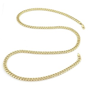 Classic 14k Yellow Gold 7mm Wide Curb Link Long Chain