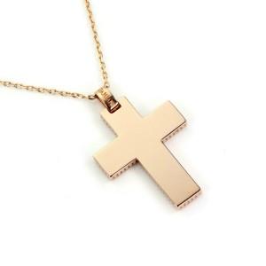 Damiani Diamond 18k Rose Gold Medium Cross Pendant & Chain