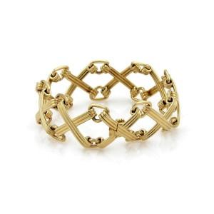 Tiffany & Co  Schlumberger Wide 18k Yellow Gold X Design Link Bracelet