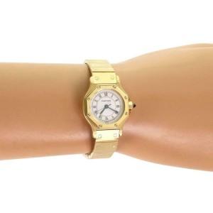 Cartier Santos 18k Yellow Gold Automatic Octagon Ladies Wrist Watch