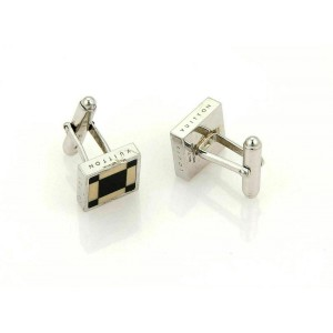 Louis Vuitton Cavalier Onyx Square Silver Plated Stud Cufflinks With Case