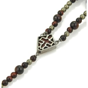 Stephen Webster Rosary Bead Sterling Bull's Eye & Pyrite Necklace