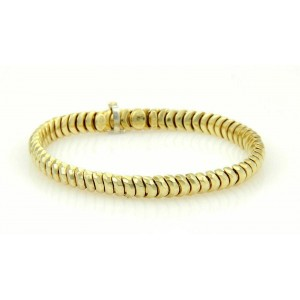 Henry Dunay Hammered Facets 18k Yellow Gold Curve Link Bracelet