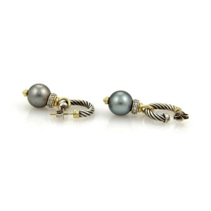 David Yurman Diamond & Tahitian Pearl 18k Gold Sterling Hoop Dangle Earrings