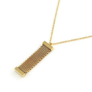 Tiffany & Co. Somerset Diamond Long Mesh 18k Yellow Gold Pendant