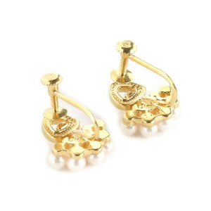 Dior Pearls Fancy Screw Back 18k Yellow Gold Earrings