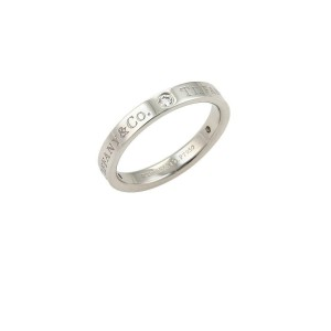 Tiffany & Co. 3 Diamond Platinum Flat Band Ring - Size 6