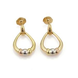 Cartier Vintage 18k Tri-Color Gold Drop Dangle Oval Hoop Earrings
