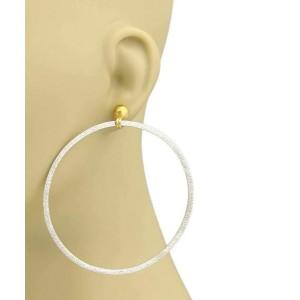 Gurhan Geo 24k Gold & Sterling Silver Hammered EX Large Hoop Earrings