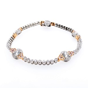 Charles Krypell Precious Pastel 5-9104-PL-P Platinum Pink & White Diamonds Bracelet