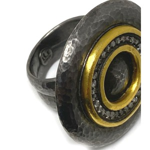 Gurhan Moon Beam Diamonds Sterling Silver &  24k Gold Round Top Ring Size 7