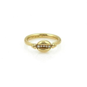 Bulgari Diamond 18k Yellow Gold Swivel Coffee Bean Ring - Size 6.75