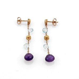 Amethyst Blue Topaz Bead 18k Rose Gold Dangle Earrings