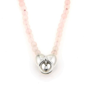 Tiffany Co Sterling Silver Pink Crystal Bead Strand Heart Pendant Necklace Tiffany Co Buy At Truefacet
