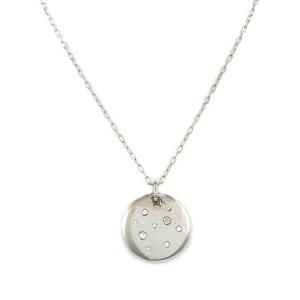 Tiffany & Co. Etoile Diamond 18k White Gold Disc Pendant & Chain