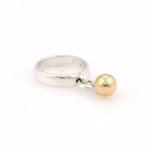 Tiffany & Co. Vintage Facination Ball 925 Silver 18k Gold Drop Charm Ring
