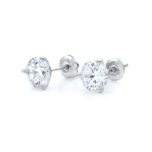 14K White Gold Round CZ Cubic Zirconia Three Prong  Stud Earrings 6mm