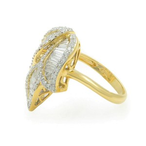 Rachel Koen 18K Yellow Gold Round and Baguette Diamonds 1.86cttw Ring
