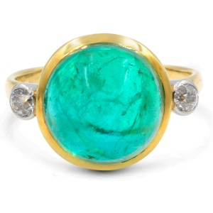 Green Cabochon Emerald Antique Engagement Ring Art Deco 6.00ct 18K Yellow Gold