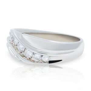 14K White Gold  Round Cut Diamond Wedding Band Men's Ring Size 9