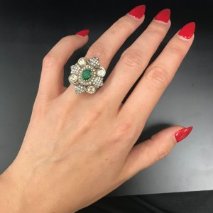 14K Yellow and White Gold Emerald 8.00cttw Diamond 0.69cttw Ring Size 6.25
