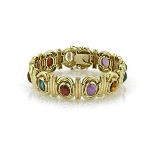 Multicolor Gemstone 14k Yellow Gold Fancy Link Bracelet