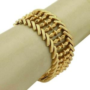 Vintage 18k Yellow Gold 29mm Wide Fancy Textured Link Bracelet