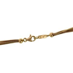 Estro Diamond 18k Gold Floral Long Tassel Pendant 5 Chain Necklace