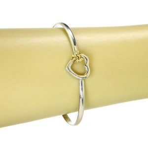 Tiffany & Co. 1990 Sterling 18k Yellow Gold Heart & Bow Hook Bangle