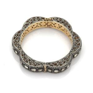 Art Deco Style 5.50ct Champagne Diamond 14k Gold & Silver Fancy Filigree Bangle