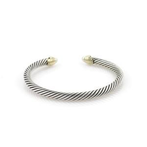 David Yurman Pearls Sterling 14k Yellow Gold Cable Cuff Bracelet