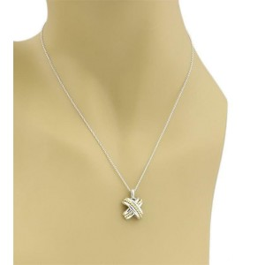Tiffany & Co. Vintage 925 Silver 18k YGold X Crossover Pendant Necklace