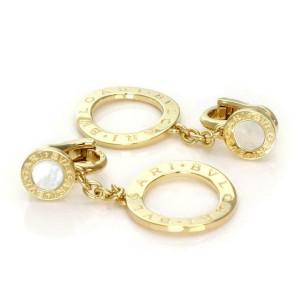 Bvlgari Bulgari Signature Mother of Pearl 18k Gold Circle Dangle Earrings