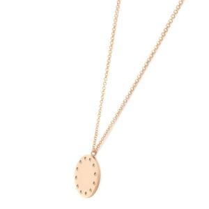 14K Rose Gold Round Diamond 0.09cttw Circle Disc Pendant 19 Inch Necklace