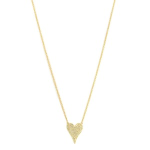 14K Yellow Gold Pave Diamond 0.21cttw Heart Pendant 17.5 Inch Necklace
