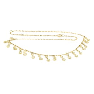 Rachel Koen 14K Yellow Gold Bezel Diamond 0.93cttw 18 Inch Necklace