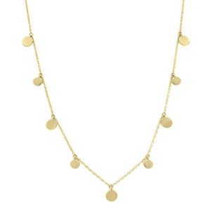 14K Yellow Gold Pave Diamond 0.12cttw Circle Disc Choker 16 Inch Necklace