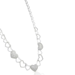 Diamond Heart Necklace Set With Pave Round Diamonds in 14K White Gold 2.50cts