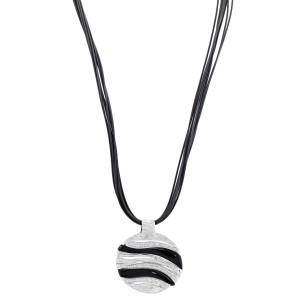 Roberto Coin 18K White Gold Black Onyx Diamond Elephantino Necklace