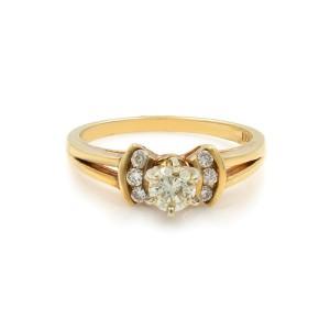 Rachel Koen Round Cut Diamond Accented Engagement Womens Ring 0.45 Cttw