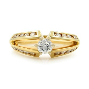 Rachel Koen 14K Yellow Gold Diamond Accented Ladies Engagement Ring 0.80 Cttw
