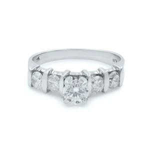 Rachel Koen 14K White Gold Round Cut Diamond Womens Engagement Ring 0.86 Cttw