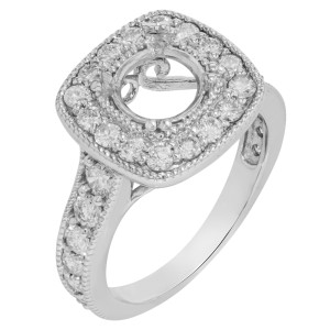 14K White Gold Diamond Accented Pave Engagement Ring Casting 3.97 Cttw Size 9.75
