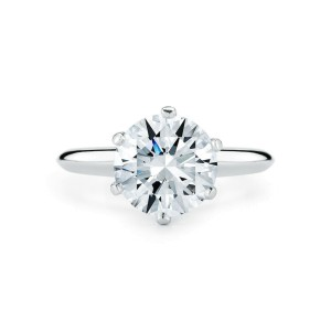 Six Prong Solitaire Round Cut Diamond Engagement Platinum Ring 1.80cts J VS2
