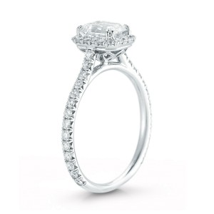 Rachel Koen Emerald Cut Halo Set Diamond Engagement in Platinum 1.65cts