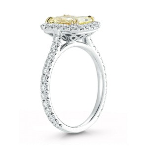 Fancy Yellow Radiant Cut Halo Diamond Engagement Ladies Ring Platinum 2.14cts