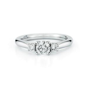 Three Stone GIA Round Brilliant Diamond Engagement Ring White Gold 0.70 cttw