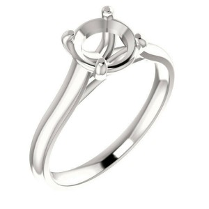 Rachel Koen Solitaire Round Cut Engagement Ring Mounting 14K White Gold size 6.5
