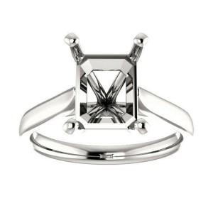 Rachel koen 14K White Gold Emerald Cut Engagement Ring Mounting Size 6.5